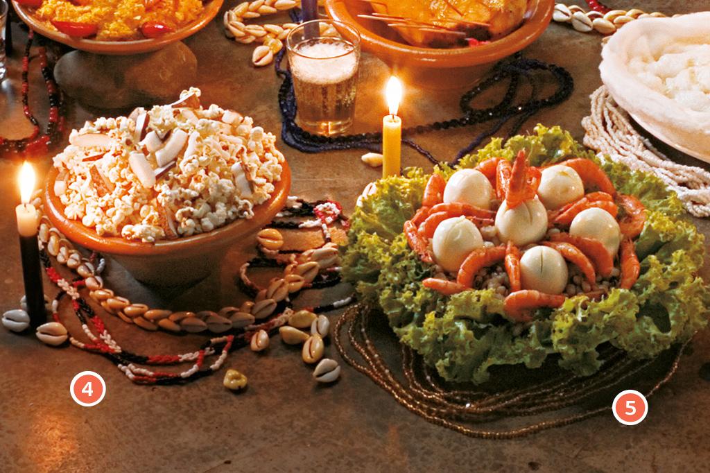 <strong>4 • OBALUAIÊ/OMOLU e NANÃ – Pipoca, 5 • OXUM – Omolocum (feijão-fradinho cozido com cebola, camarões e azeite de oliva).</strong>