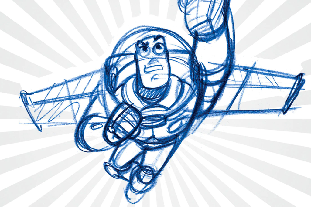 A imagem mostra um rascunho de desenho do personagem Buzz Lightyear, um astronauta que usa um capacete redondo transparente e um traje espacial com asas presas na parte traseira. A ilustração é da cor azul e nela, Buzz está erguendo uma das mãos para o alto, como se estivesse voando.