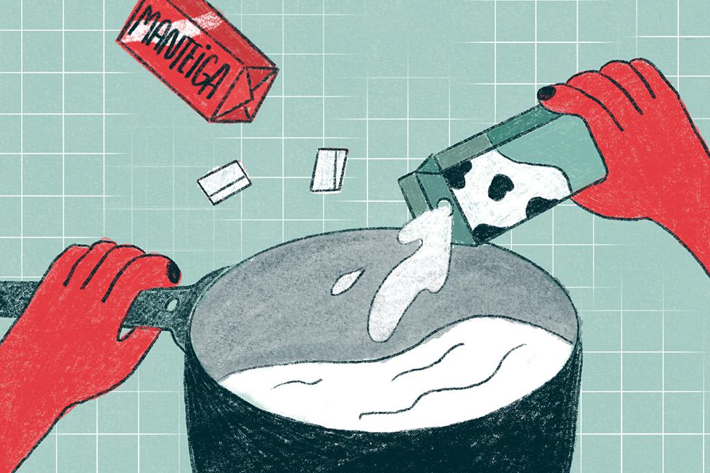 Ilustração mostrando as mãos de uma pessoa - com uma das mãos, ela coloca leite em uma panela; com a outra, ela segura a panela. É possível ver uma barra de manteiga ao lado.
