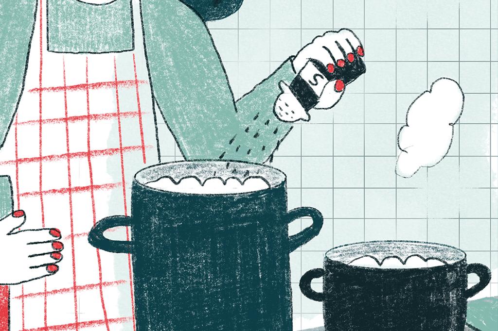 Ilustração mostrando uma mulher cozinhando com duas panelas. Ela joga sal em uma delas enquanto a outra descansa.