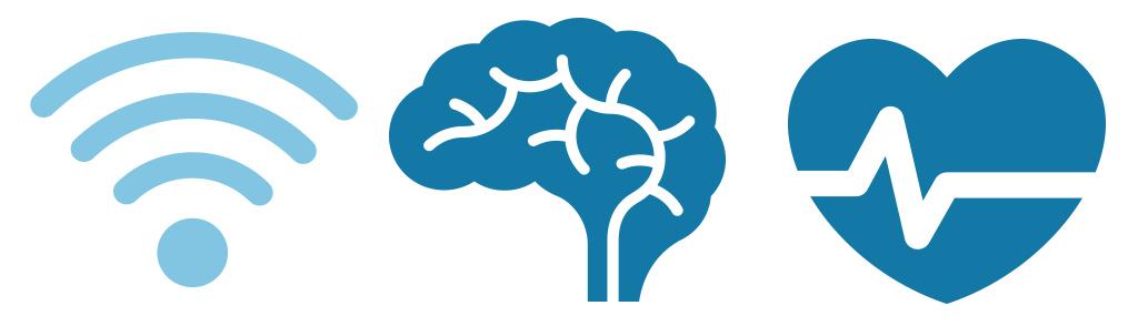 Ícones cérebro, wifi e coração