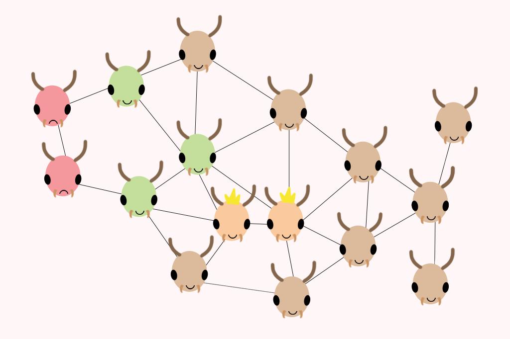 Ilustração de cupins com imunidade social.