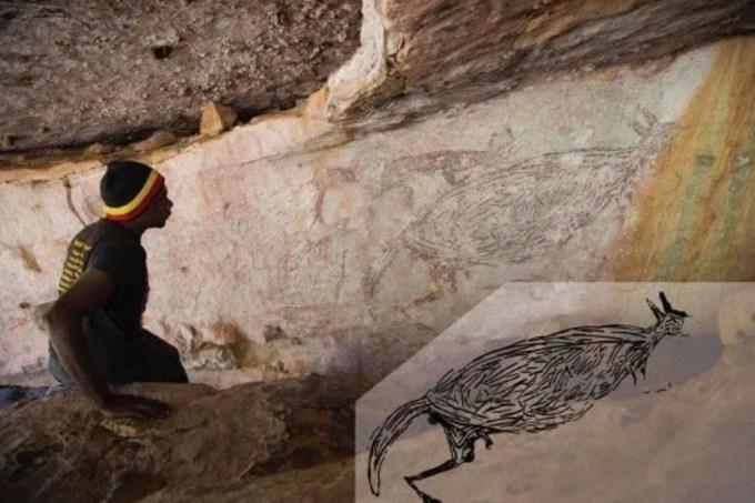 Arte rupestre mais antiga da Austrália é um canguru de 17 mil anos