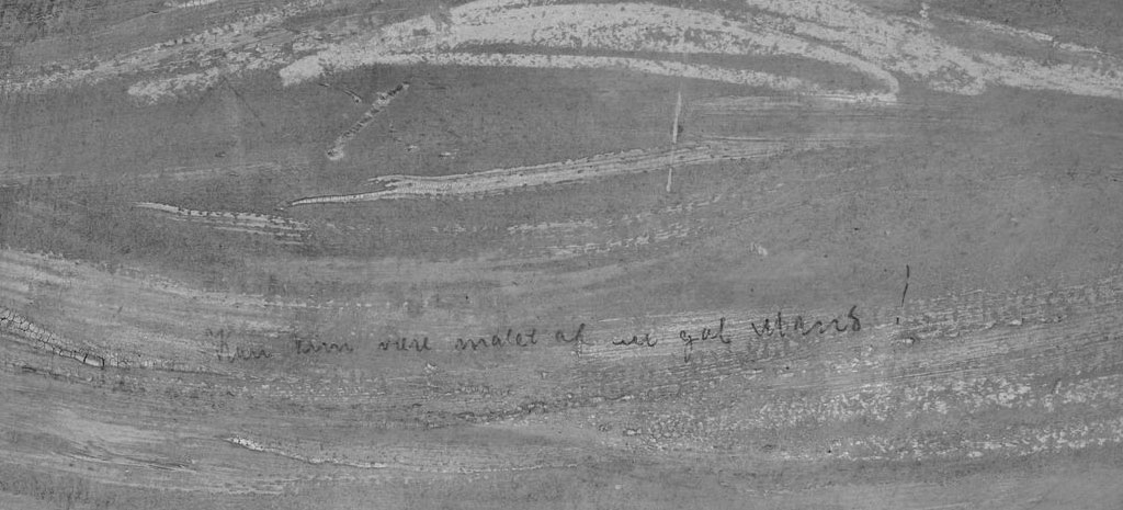 Fotografia infravermelha da frase encontrada na obra