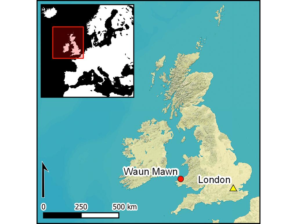 Mapa do Reino Unido destacando dois pontos: Waun Mawn e Londres.