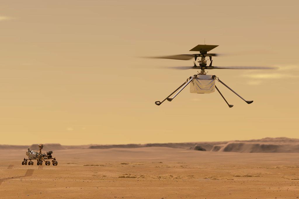 Ilustração mostra o Mars Helicopter Ingenuity voando em Marte, com o Rover Perseverance ao fundo.