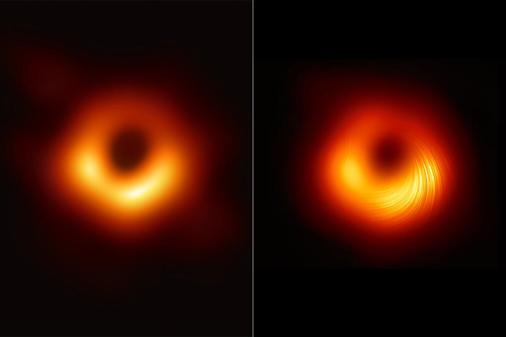 Imagem mostrando a comparação entre duas fotos do mesmo buraco negro.