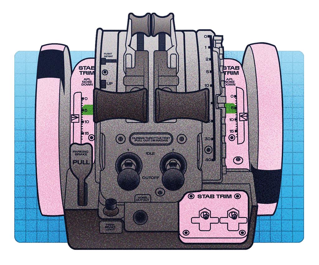 """Parte do cockpit do MAX. Os dois interruptores """"stab trim"""" (à direita) cortam o MCAS (estabilização automática de voo), cujo software foi recalibrado."""