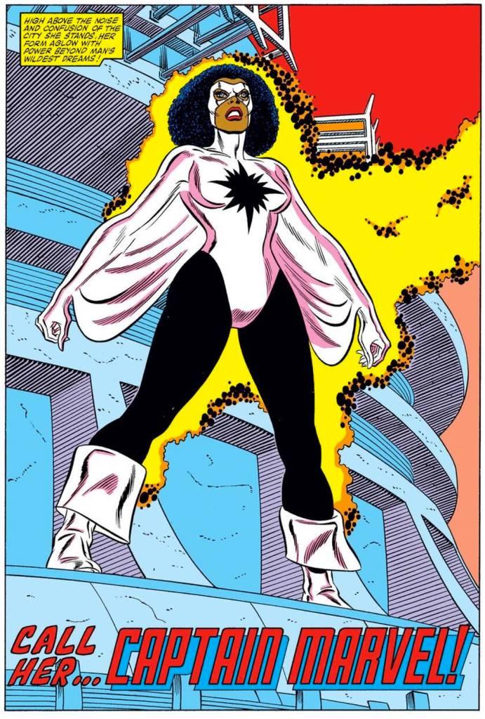 Ilustração da Capitã Marvel dos quadrinhos.