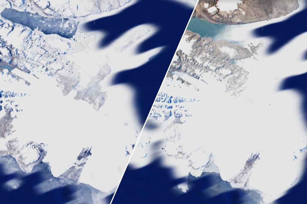 Imagem mostrando a diferença visual de uma geleira nos anos 1984 e 2020.