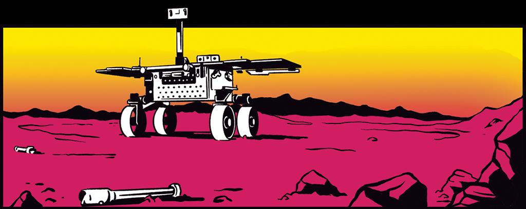 """1 - Ilustração do fetch rover (""""veículo de busca"""") – um pequeno jipe que coleta os tubos lacrados com amostras deixados para trás pela Perseverance."""
