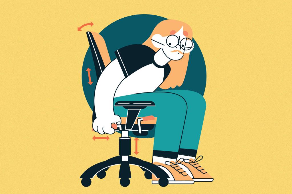 Ilustração de uma pessoa testando todos os ajustes de uma cadeira.
