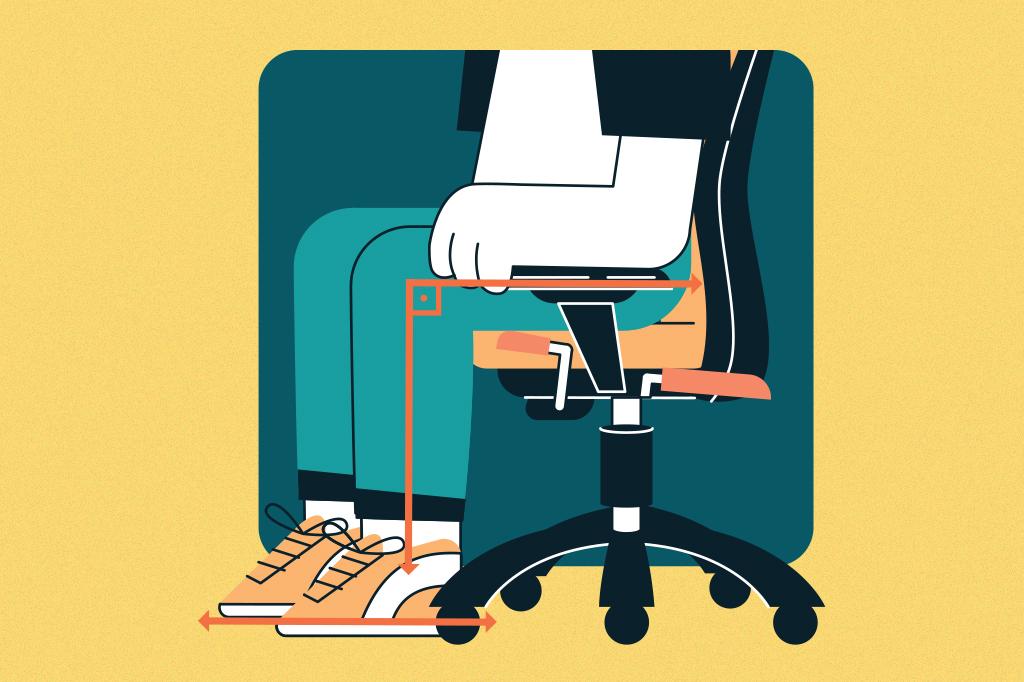 Ilustração mostrando o ângulo reto entre e a perna e a coxa de uma pessoa sentada em uma cadeira.