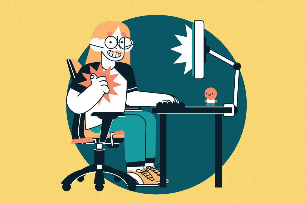 Ilustração de uma pessoa sentada corretamente na sua cadeira e usando o computador em uma mesa.
