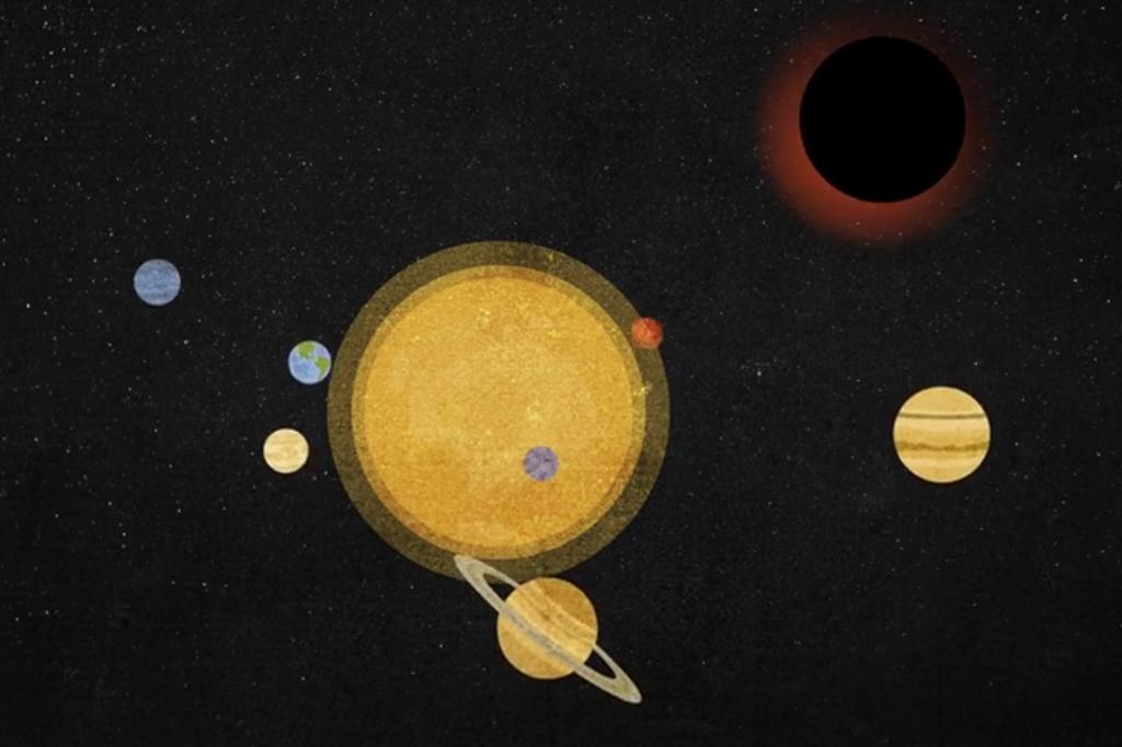 ilustração fora de escala do sistema solar em primeiro plano com o novo buraco negro em segundo.
