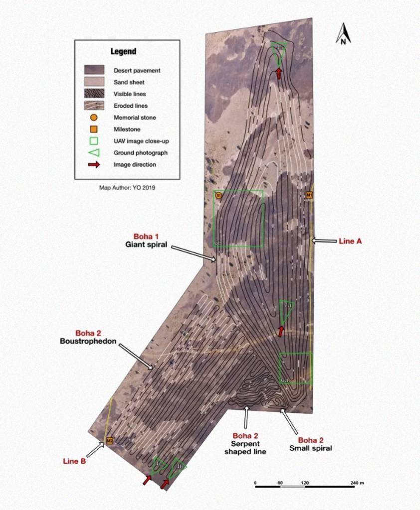 Esquema mostrando em detalhes as linhas e a superfície da área.