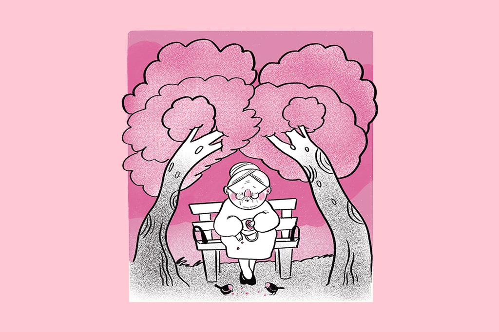 Ilustração de uma senhorinha alimentando pássaros numa praça, com duas árvores simétricas ao seu lado.