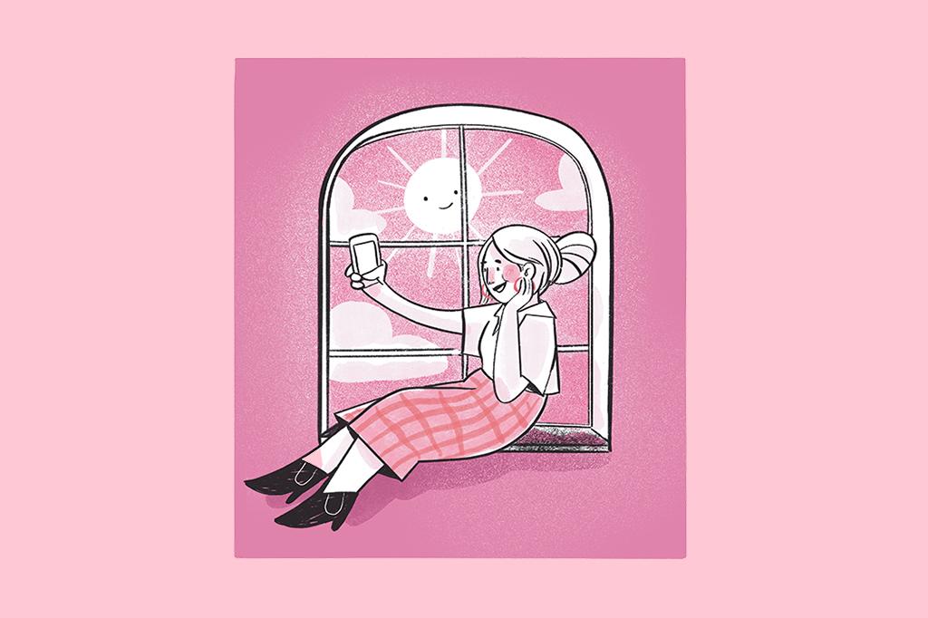 Ilustração de uma mulher tirando uma selfie na janela com um sol sorridente.