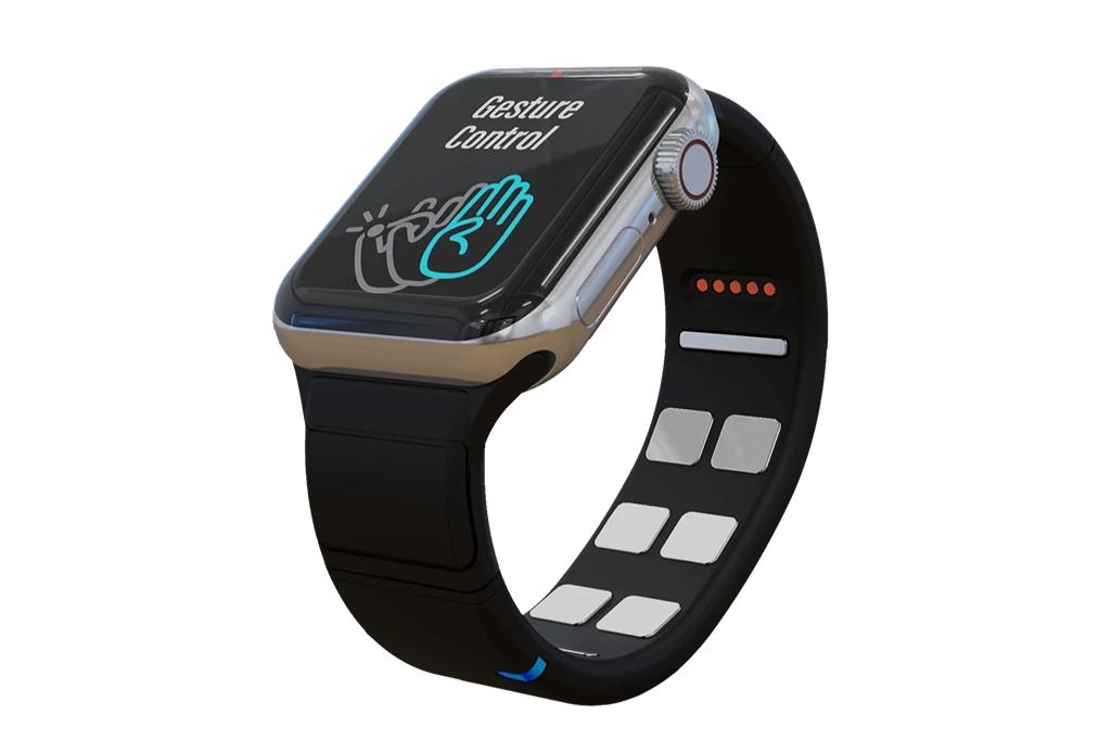 Imagem mostrando a Mudra Band acoplada a um Apple Watch.