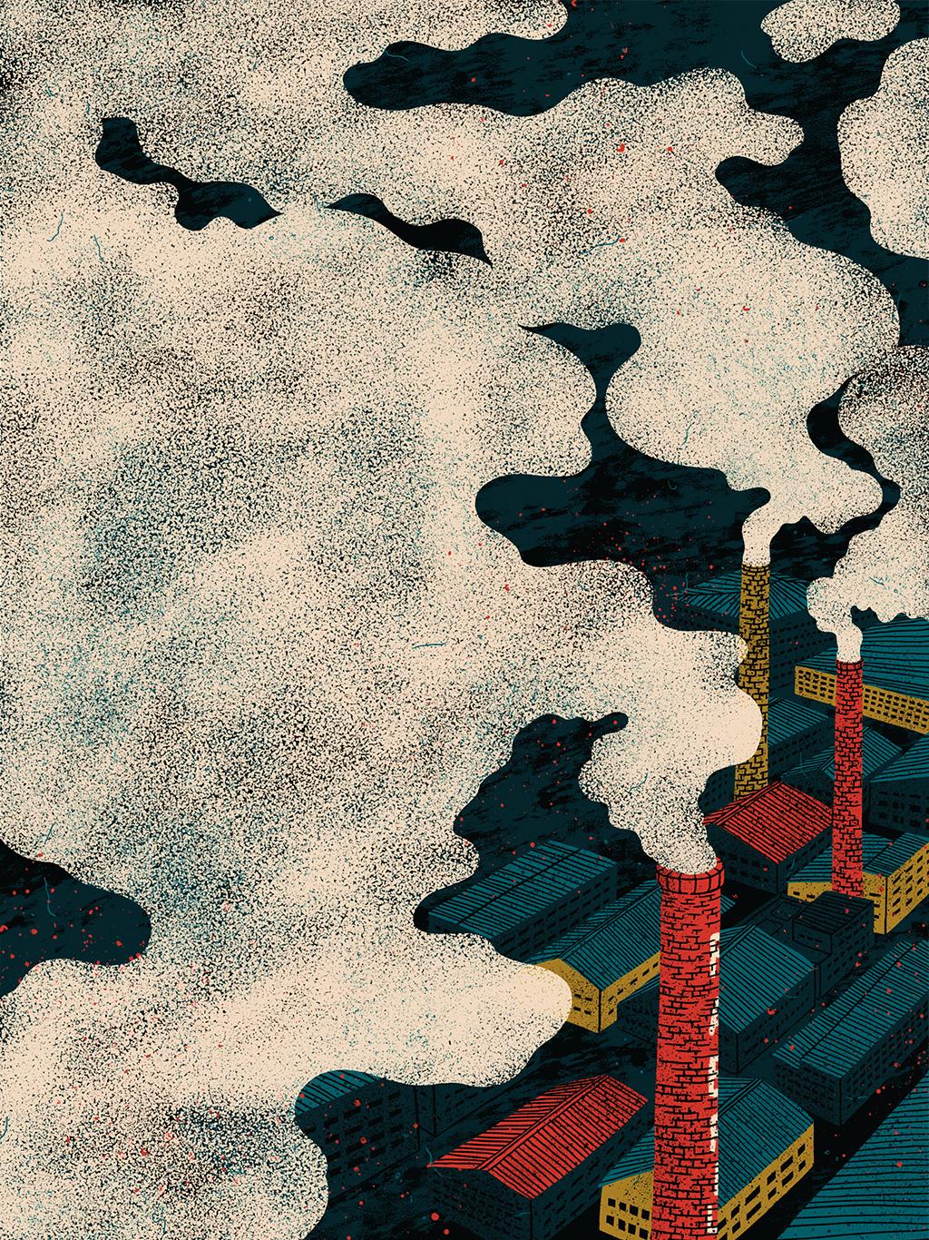 Ilustração com fumaça em primeiro plano saindo de chaminés de fábricas ao fundo.