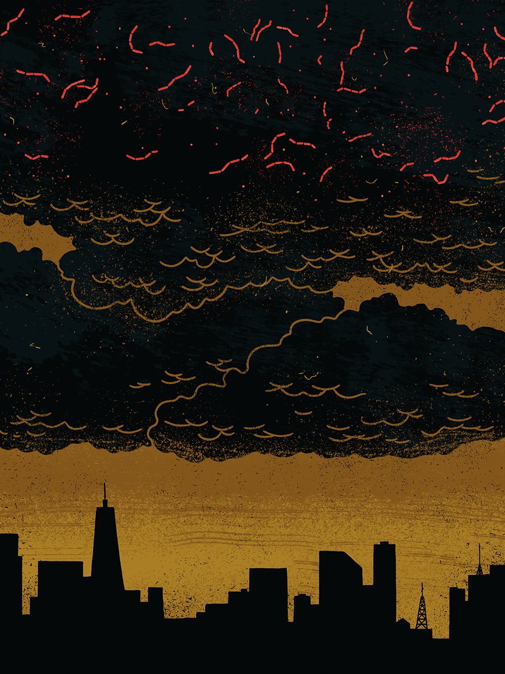 Ilustração de skyline de cidade com nuvens no céu e micróbios acima delas.