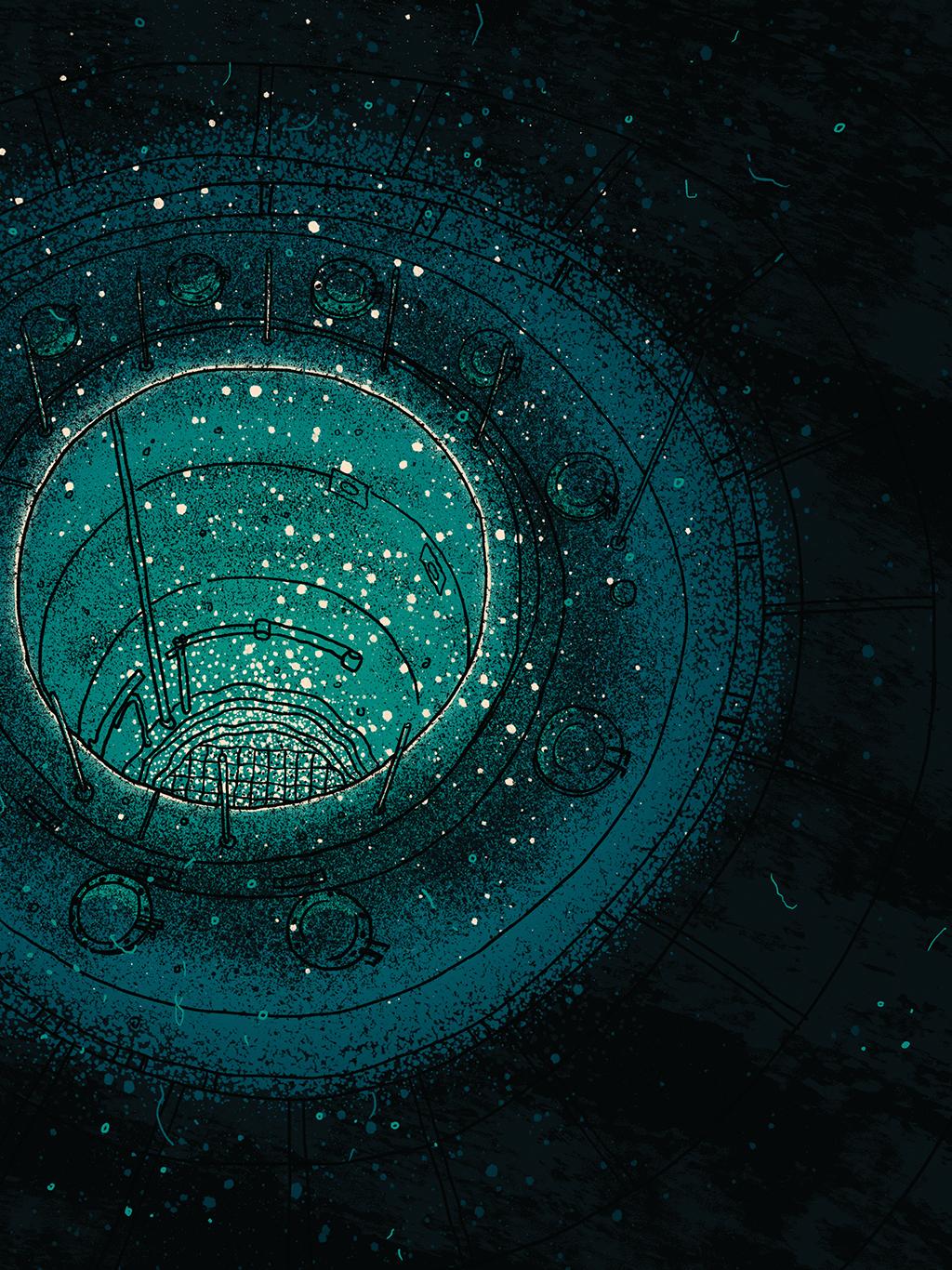 Ilustração de reator nuclear: um buraco circular emitindo luz azul com grade no fundo e tubulação passando em seu entorno.