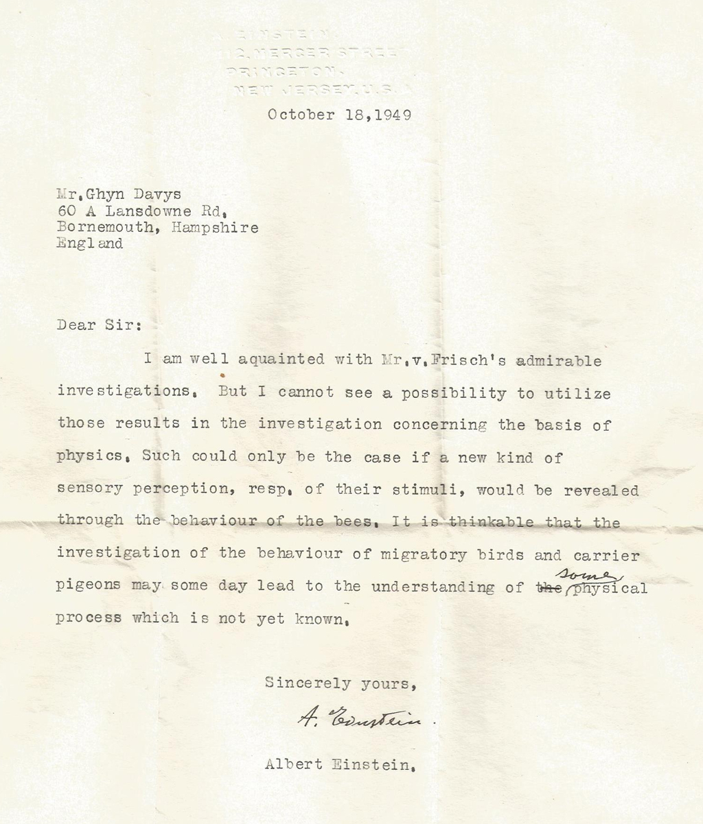 Foto da carta escrita em máquina de escrever e assinada por Einstein.