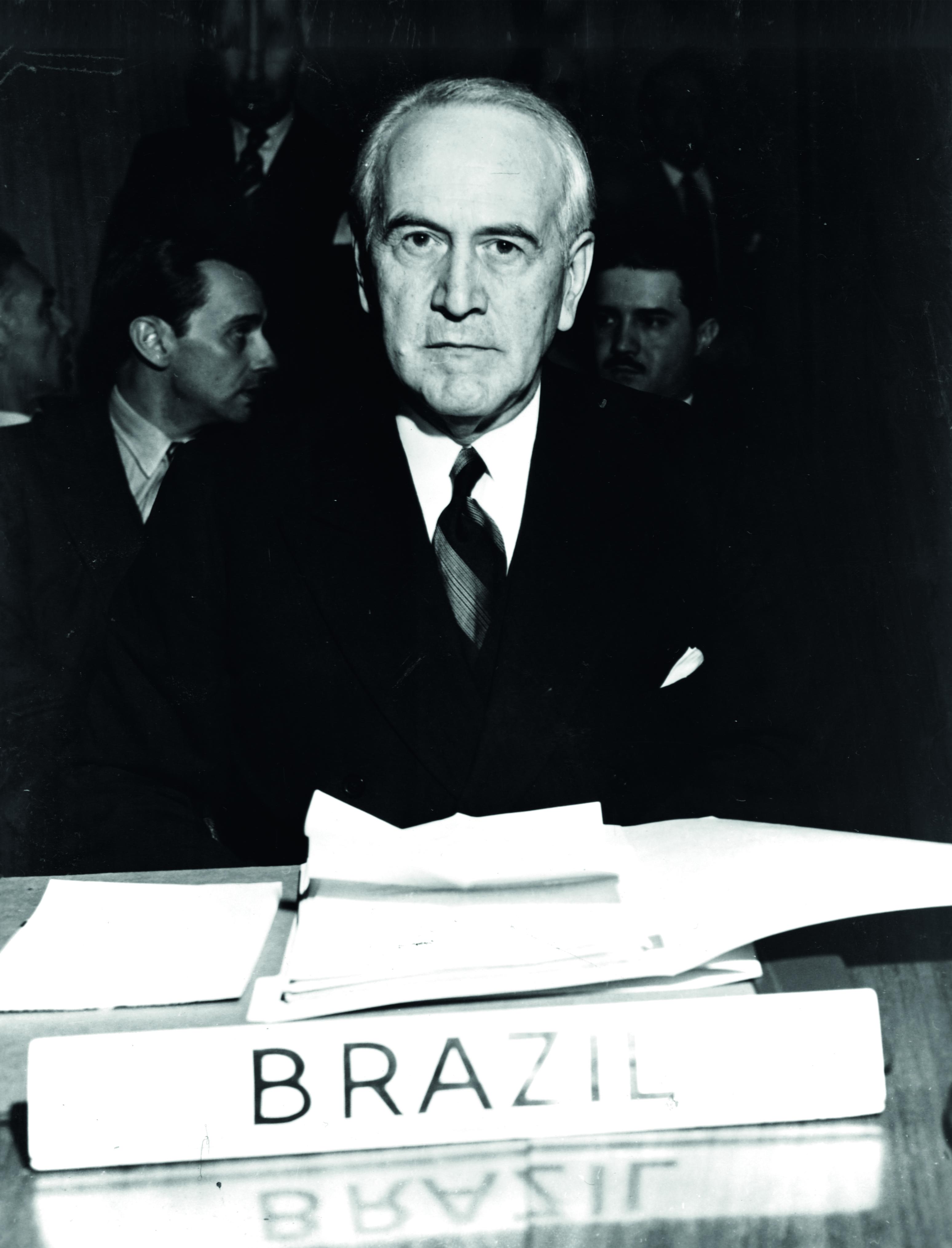 Foto de Oswaldo Aranha, indicado ao Prêmio Nobel da Paz em 1948.
