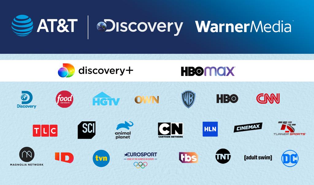 Imagem com todos os logos das marcas que farão parte da fusão entre a Warner e a Discovery.