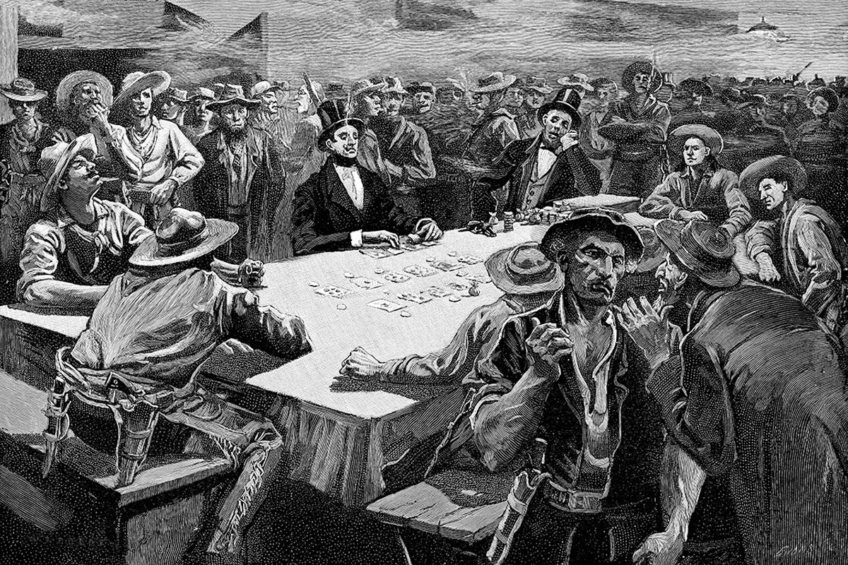 ilustração de homens jogando poquer