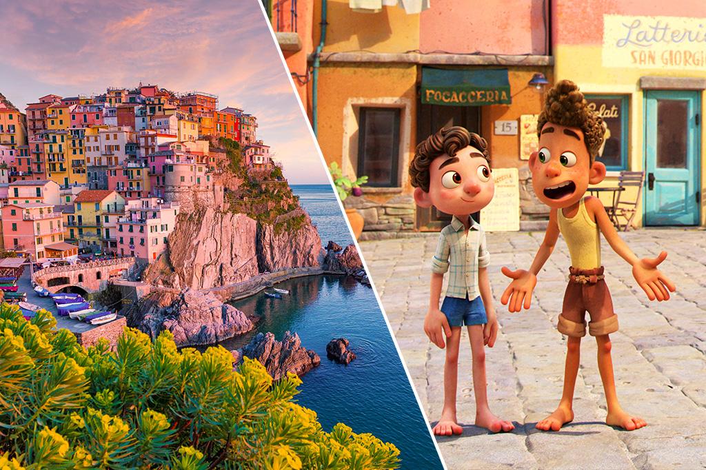 Montaggio che mostra una foto di un cinquefoil in Italia e una cornice dalla foto