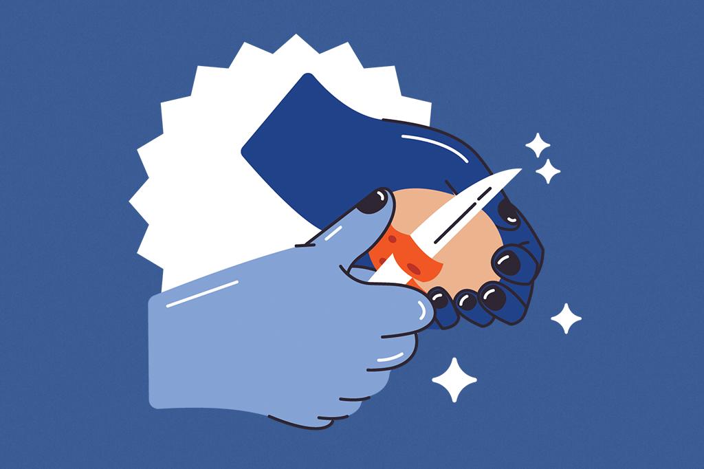 Ilustração mostrando duas mãos descascando uma batata.