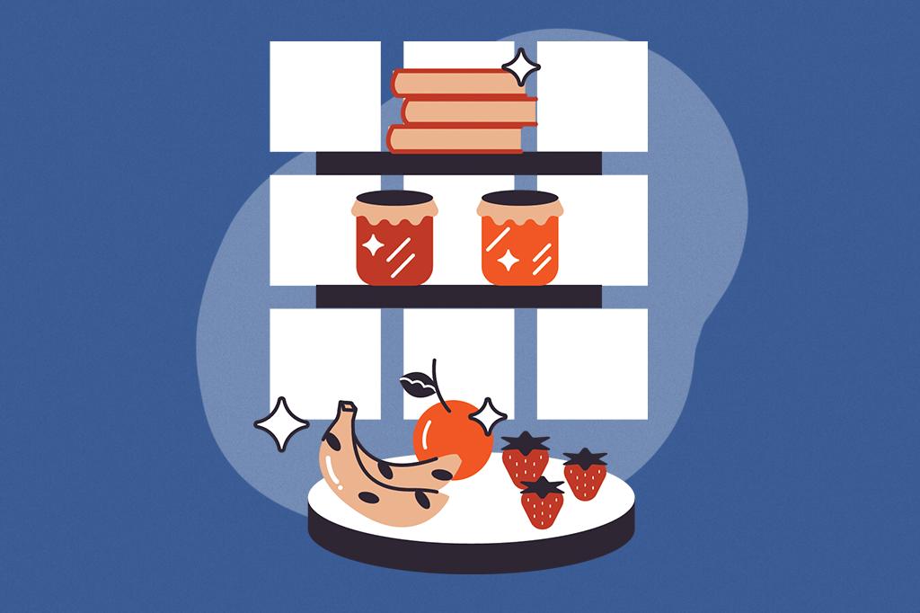 Ilustração de uma prateleirinha com geleias, frutinhas e livros de receita.