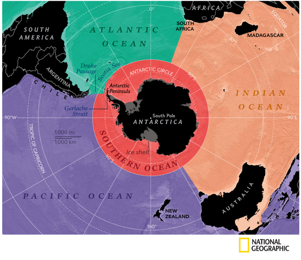 Ilustração do Oceano Antártico.