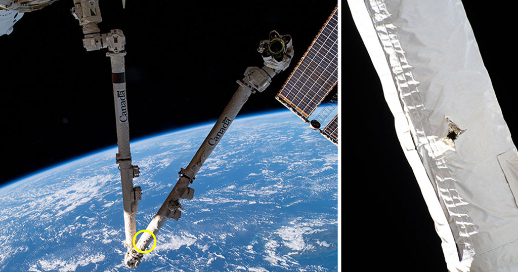 Estas imagens da NASA e da Agência Espacial Canadense mostram a localização de um ataque de detritos espaciais no braço do robô Canadarm2 da Estação Espacial Internacional, detectado em 12 de maio de 2021 e lançado em 28 de maio.