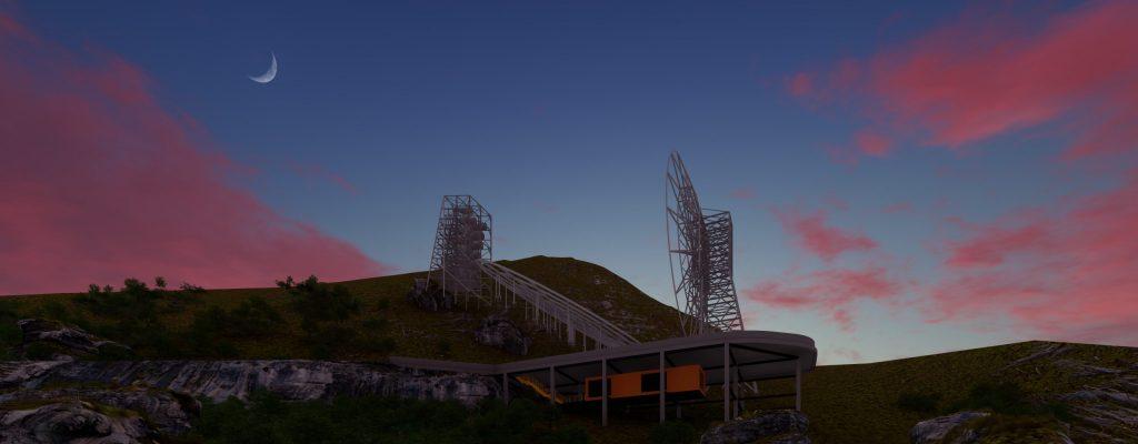 Representação artística do radiotelescópio Bingo