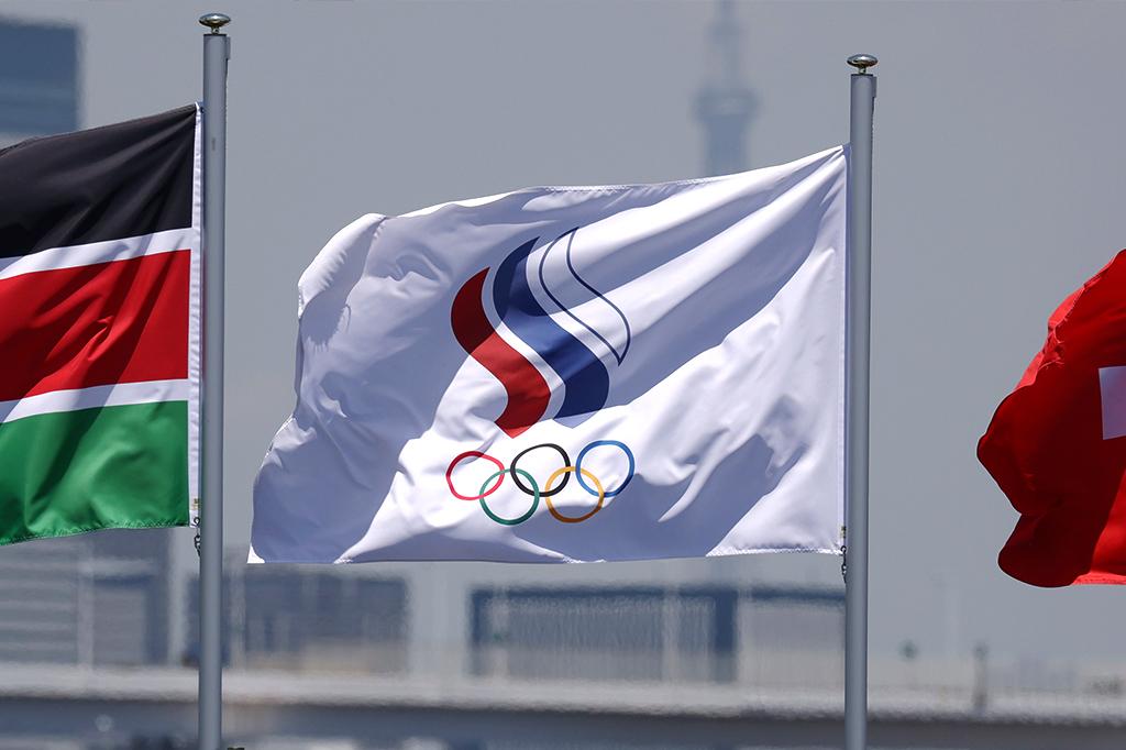 Bandeira ROC, utilizada pela Rússica na Olimpíada Tóquio 2020.