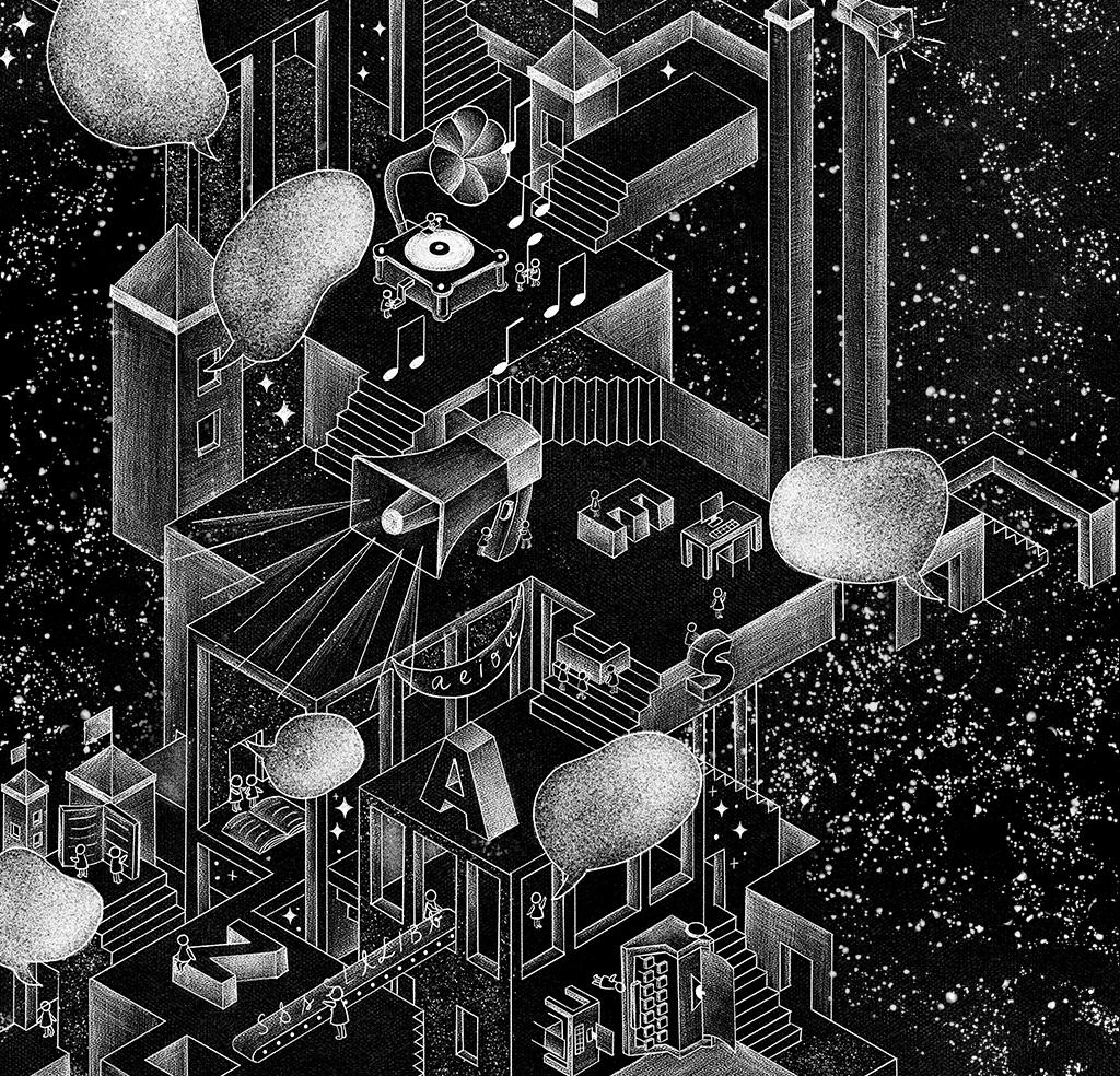 Ilustração em preto e branco de plataformas que simulam um escritório com vários elementos que tem como base as palavras, como megafone, letras, livros e balões de fala.