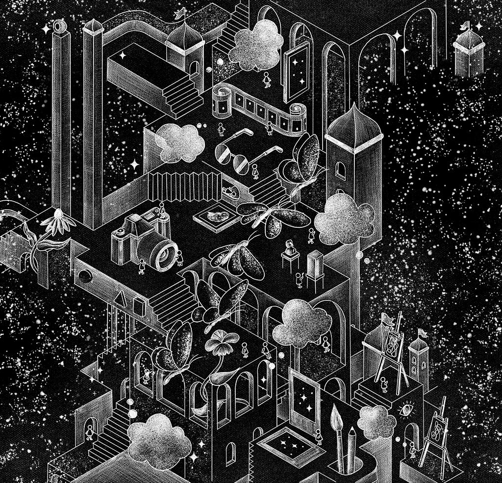Ilustração em preto e branco de plataformas que simulam um escritório com vários elementos que tem como base as imagens, como câmera, fotos, quadros e filmes.
