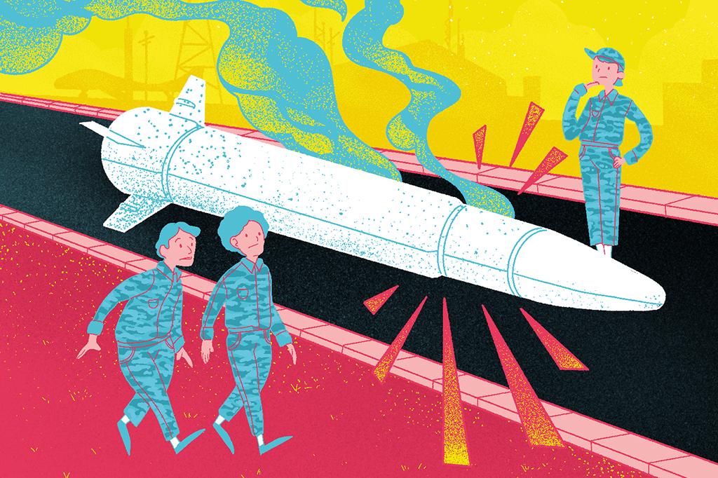 Ilustração de um míssil no chão, no centro da imagem, com 3 pessoas em volta.