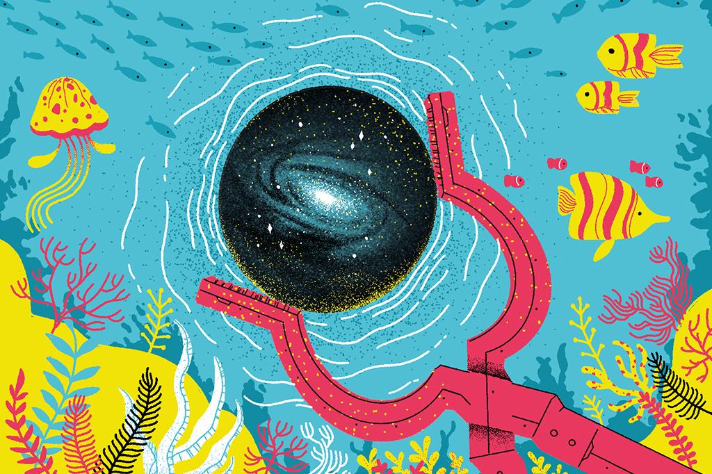 Ilustração de um plutônio com uma galáxia dentro e o mar ao fundo, com peixes e algas.