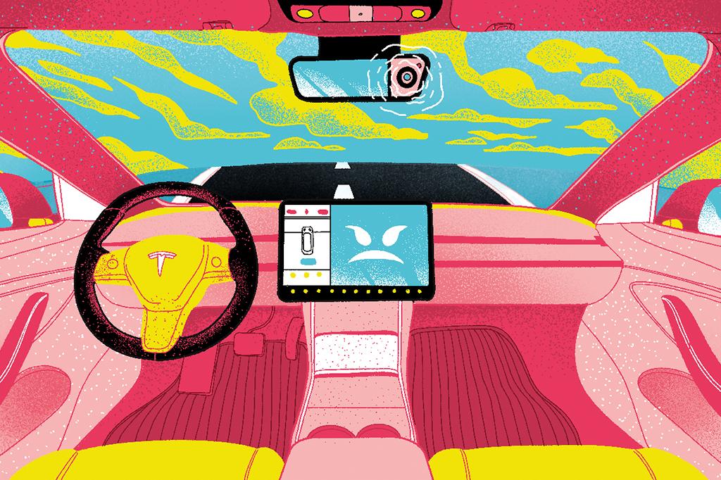 Ilustração do interior de um carro Tesla, com uma câmera no retrovisor e uma carinha malvada no painel.