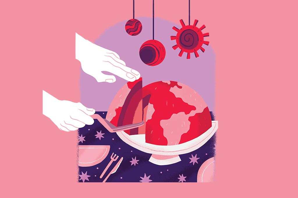 Ilustração mostrando duas mãos cortando um pedaço de um bolo que é o planeta terra. É possível ver as camadas do planeta.