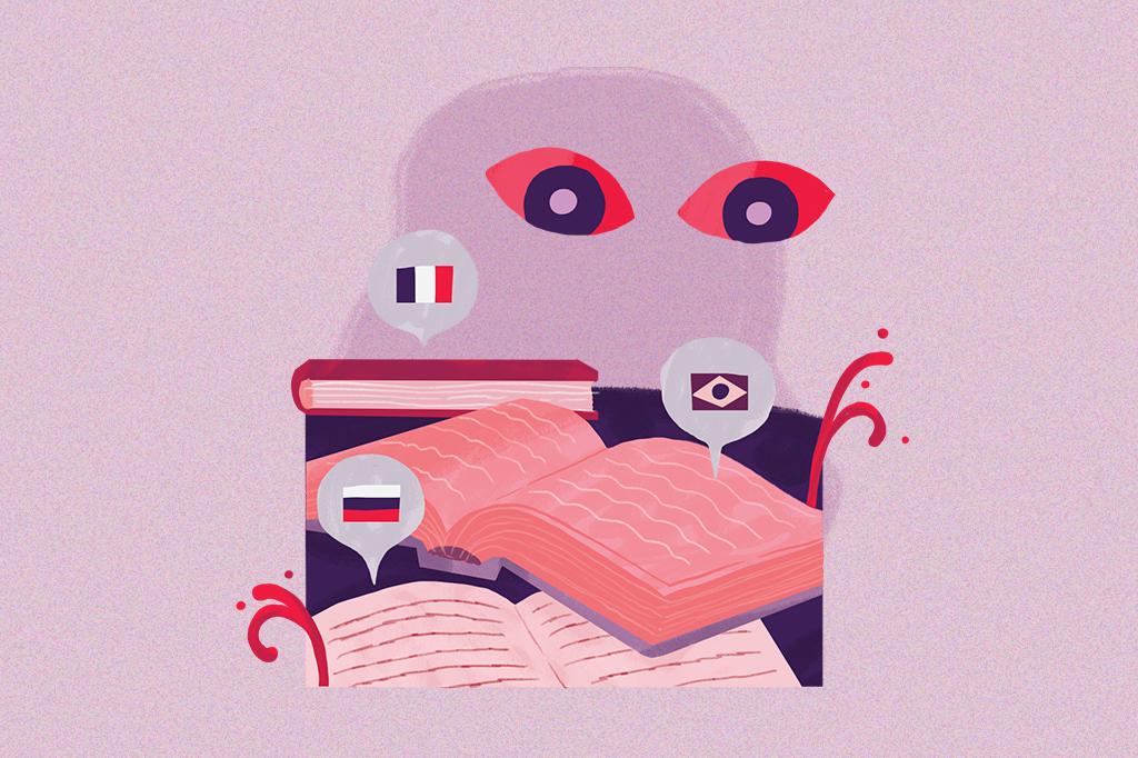 Ilustração mostrando dois olhinhos observando 3 livros, cada um com um balãozinho de fala saindo de dentro deles e contendo as bandeirinhas da França, do Brasil e da Rússia.