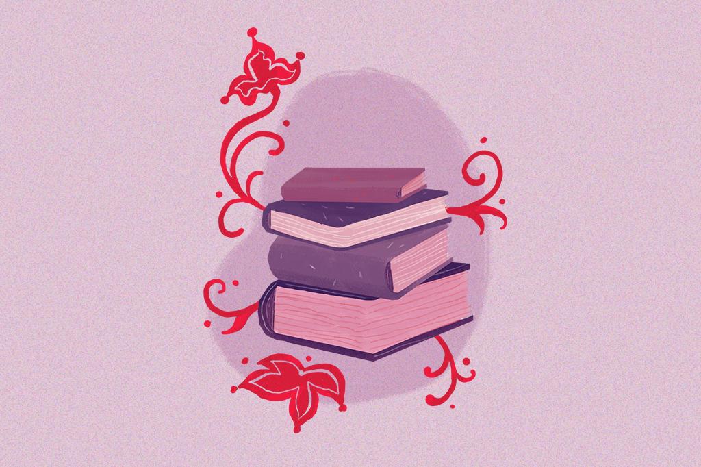 Ilustração mostrando vários livros empilhados, de várias grossuras diferentes.