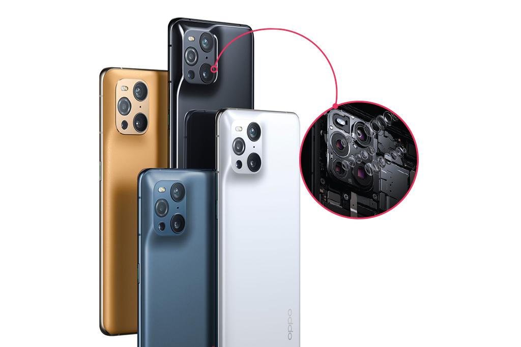 Foto de 4 celulares Oppo Find X3 Pro, com um zoom da câmera.
