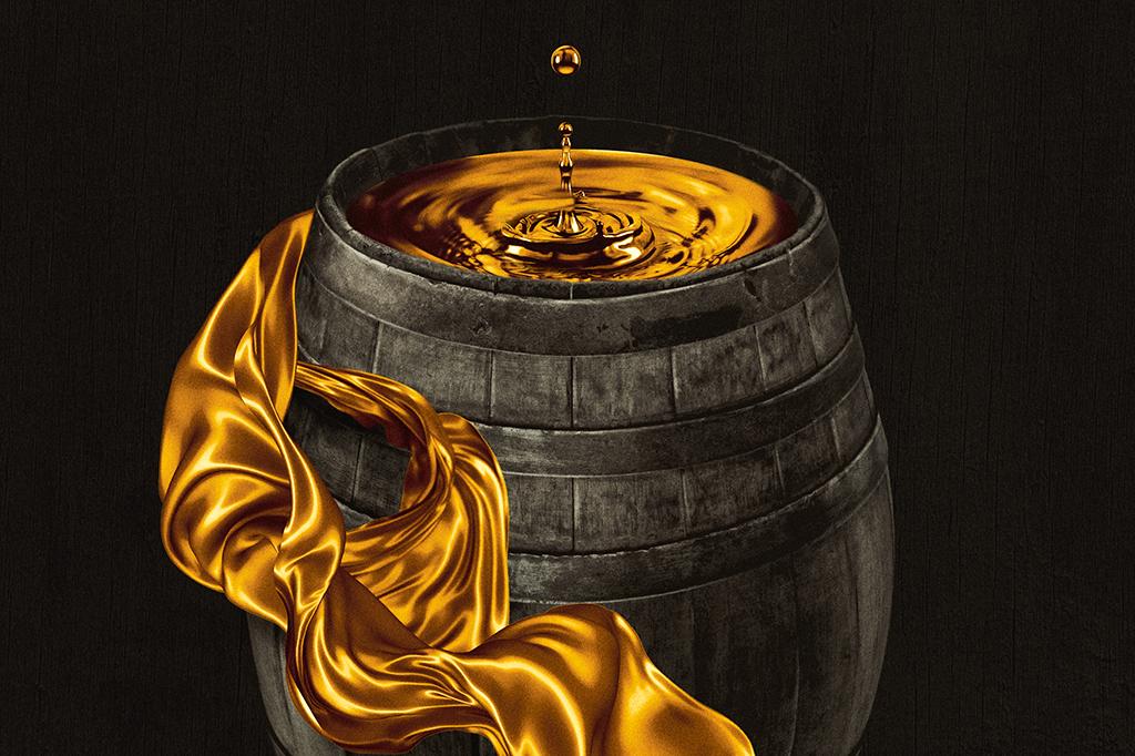 Ilustração de barril com uísque representando o precesso de envelhecimento.