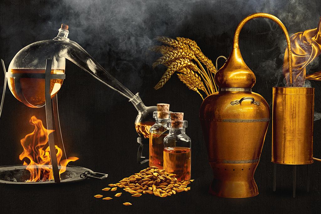 Processo de destilação e mistura do uísque.