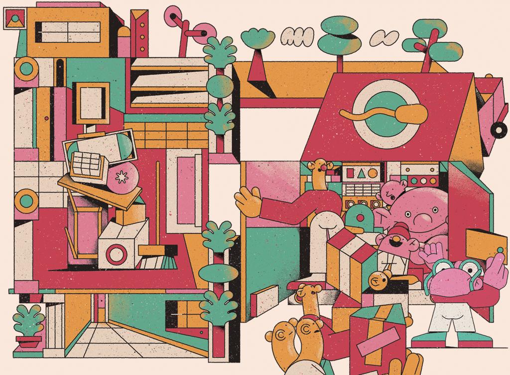 Ilustração de genes empacotando a empresa em um caminhão de mudanças.