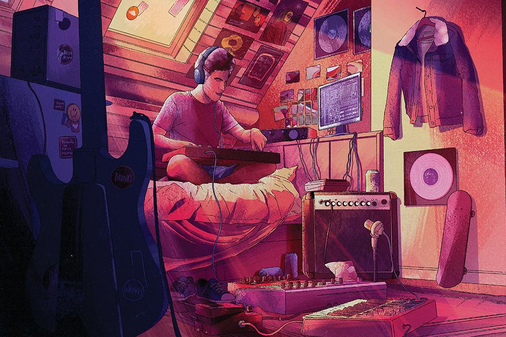 Ilustração de um homem num quarto cheio de instrumentos na mesa e no chão, gravando música lo-fi.